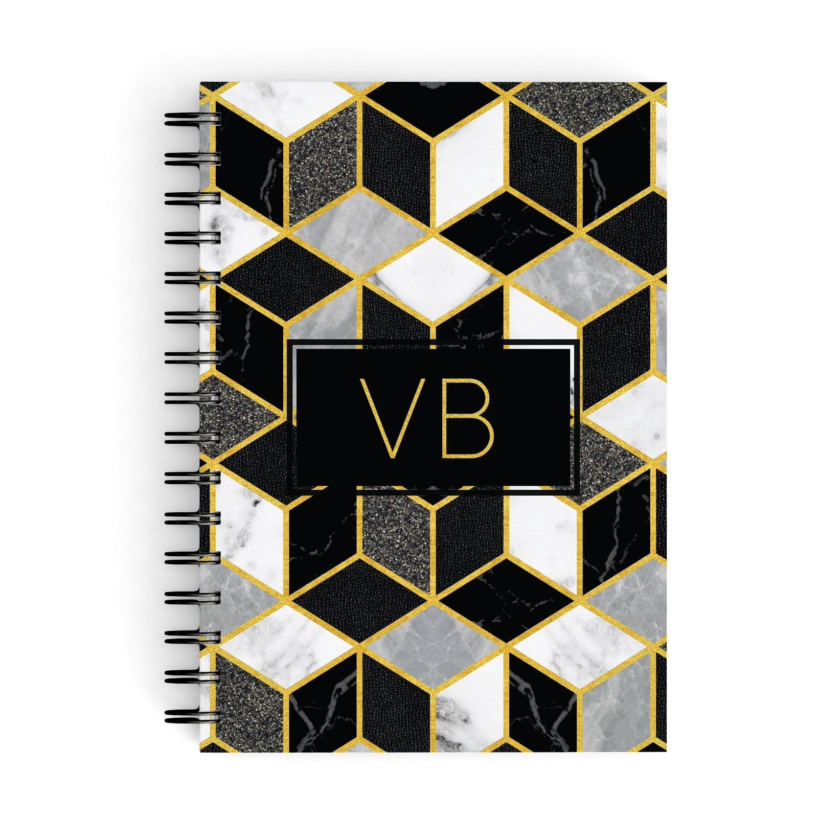 Personalised Gold Leaf Initials Marble A5 Hardcover Notebook