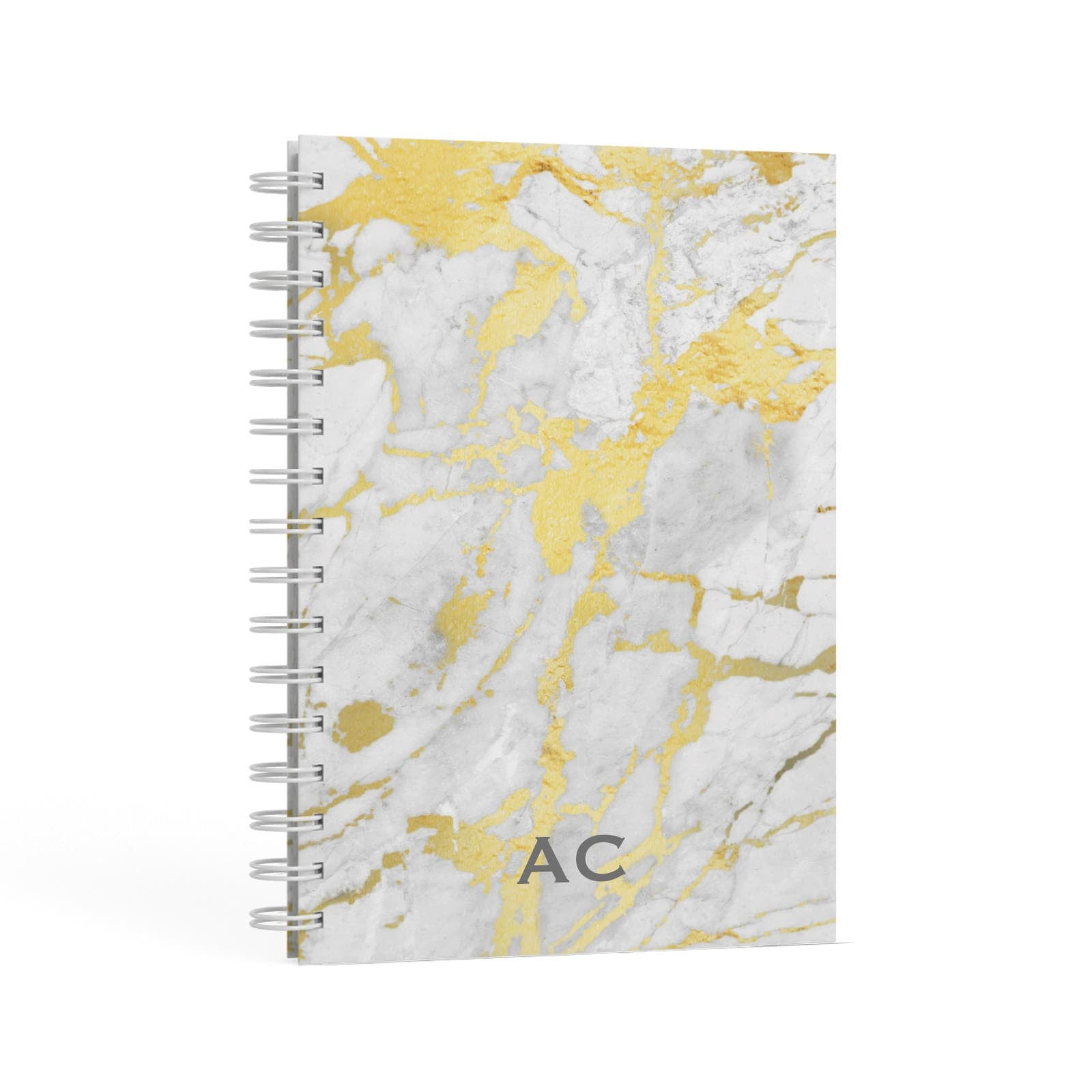 Personalised Gold Marble Initials A5 Hardcover Notebook Second Side View