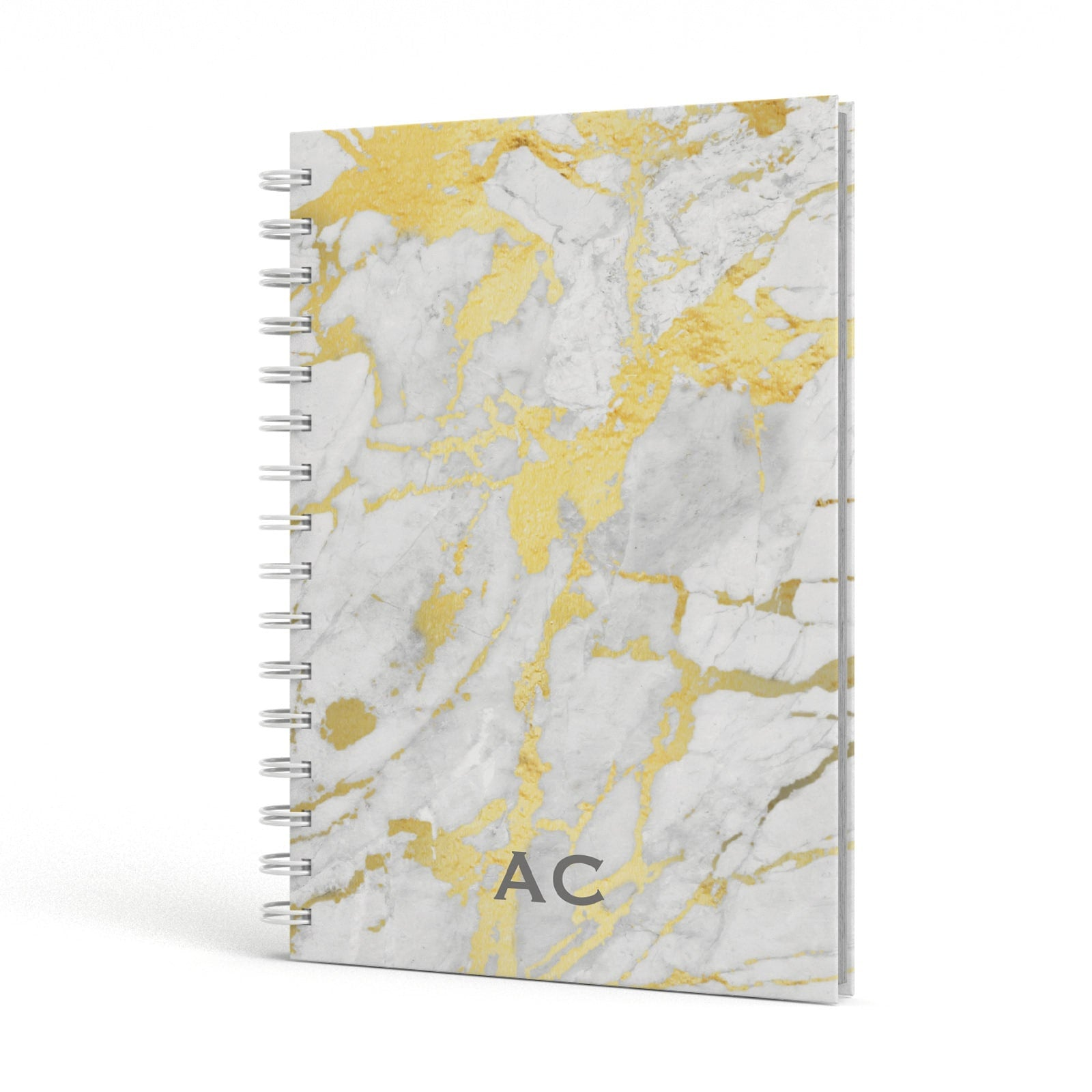 Personalised Gold Marble Initials A5 Hardcover Notebook Side View