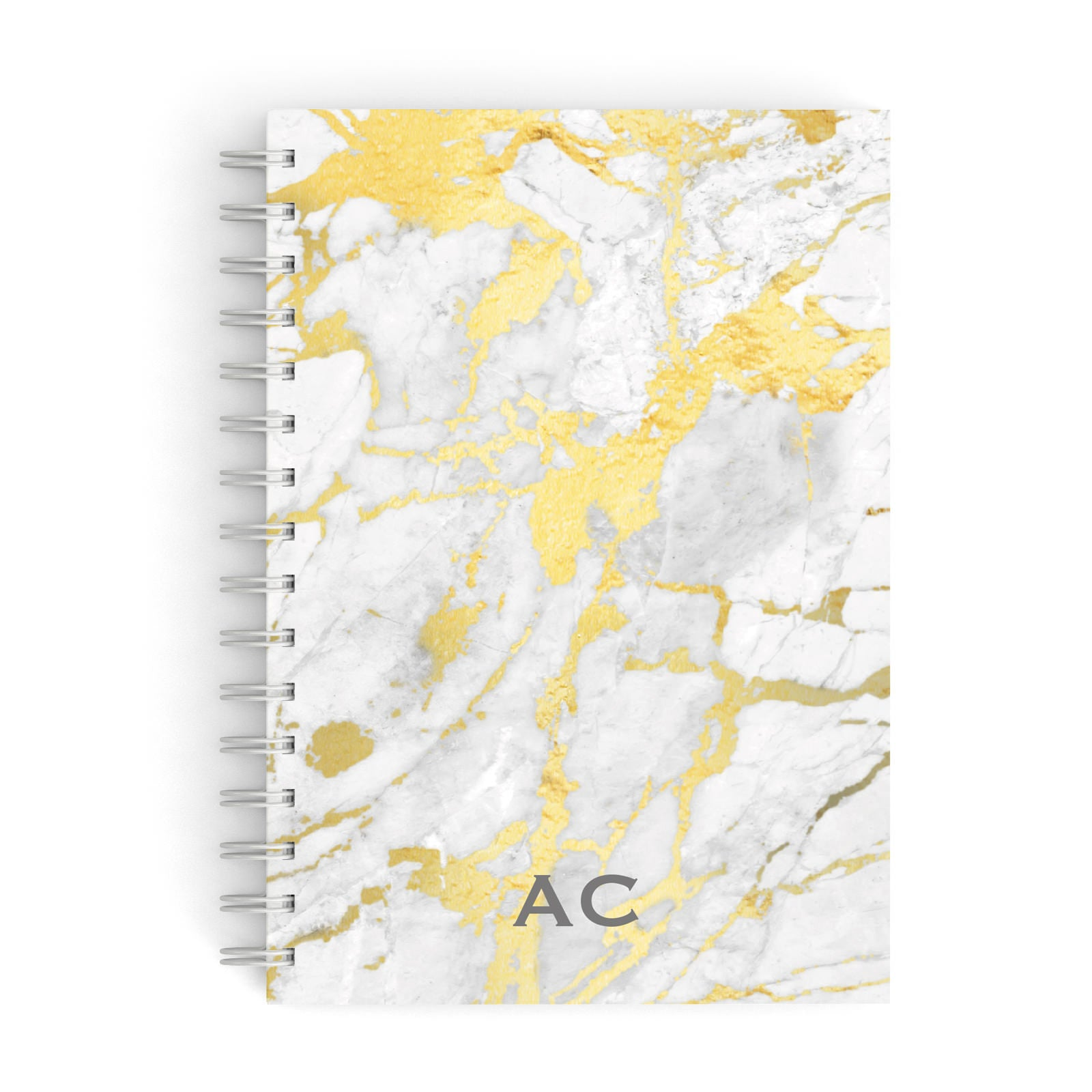 Personalised Gold Marble Initials A5 Hardcover Notebook