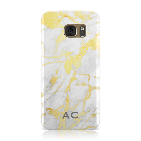 Personalised Gold Marble Initials Samsung Galaxy Case