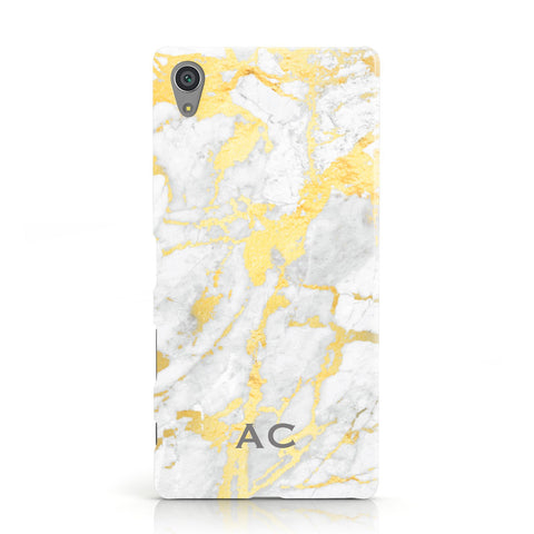 Personalised Gold Marble Initials Sony Xperia Case