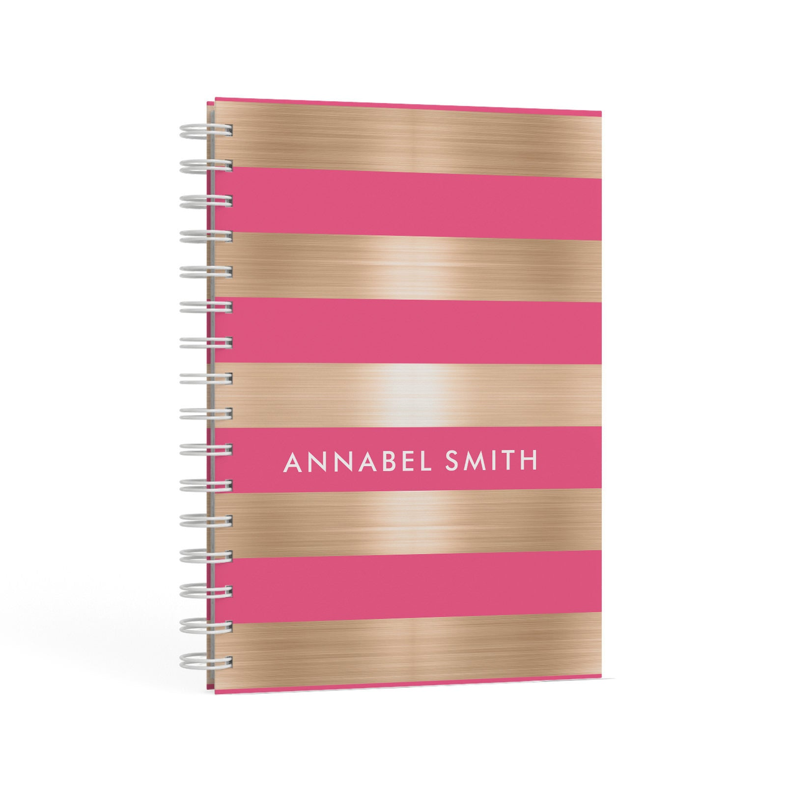 Personalised Gold Pink Stripes Name Initial A5 Hardcover Notebook Second Side View