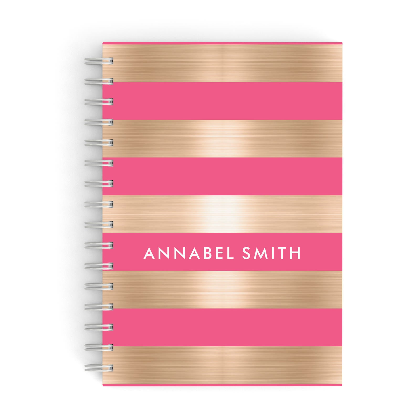 Personalised Gold Pink Stripes Name Initial A5 Hardcover Notebook