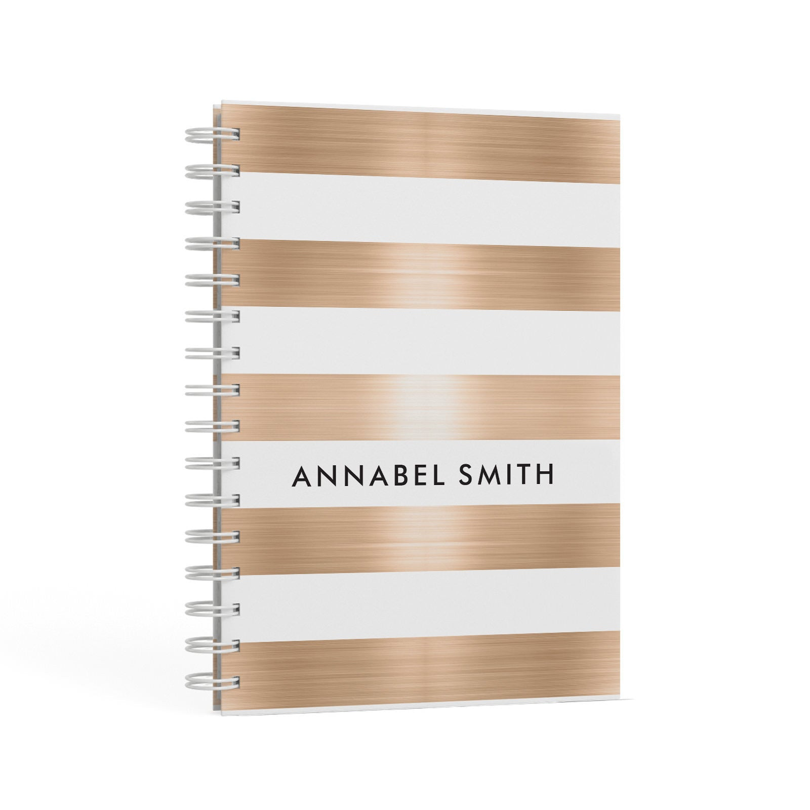 Personalised Gold Striped Name Initials A5 Hardcover Notebook Second Side View