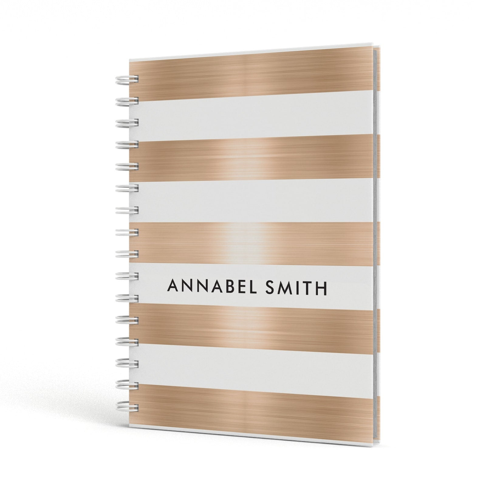 Personalised Gold Striped Name Initials A5 Hardcover Notebook Side View