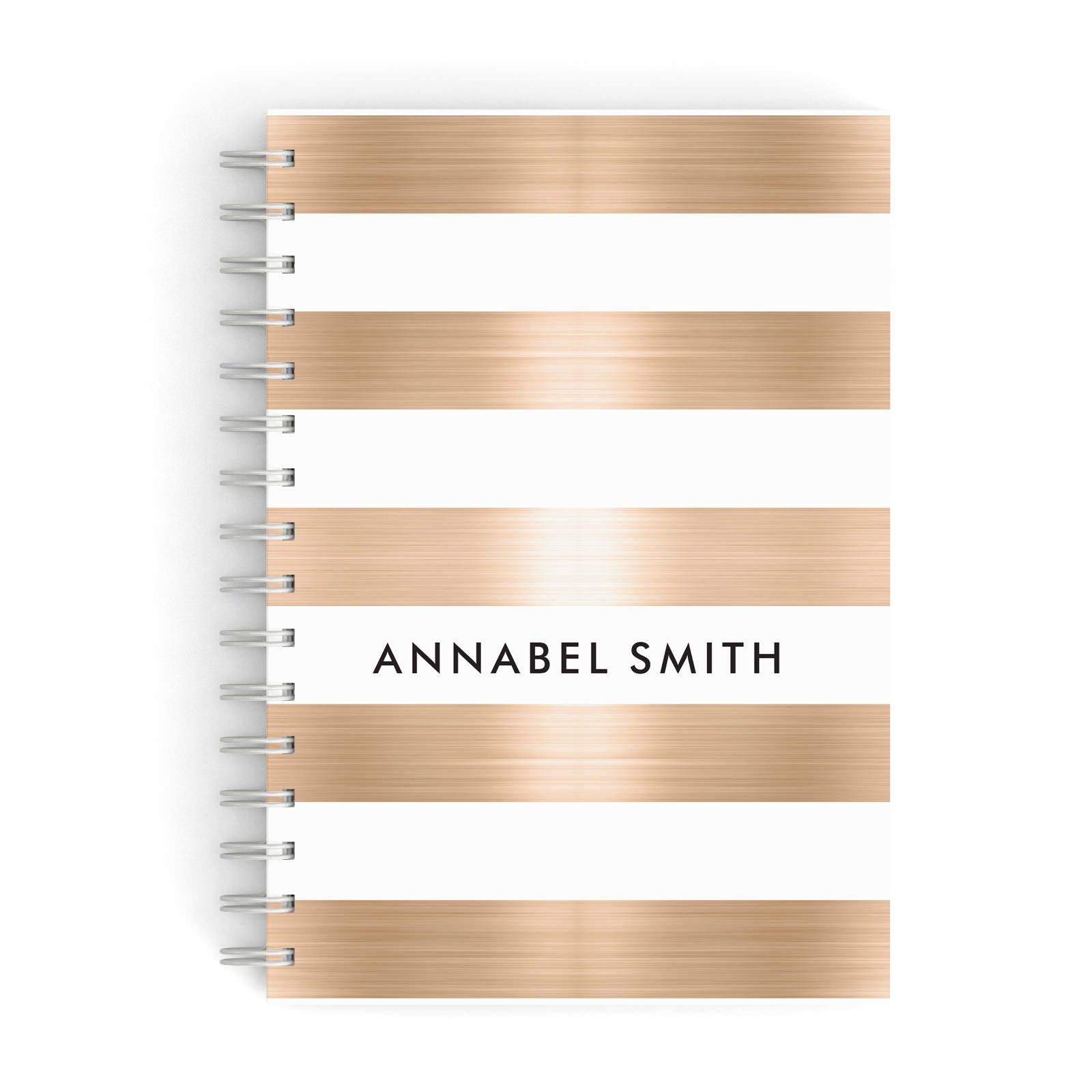Personalised Gold Striped Name Initials A5 Hardcover Notebook