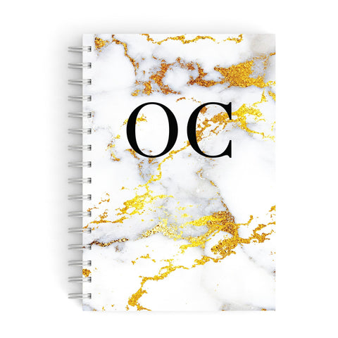 Personalised Gold Veined Marble Initials A5 Hardcover Notebook