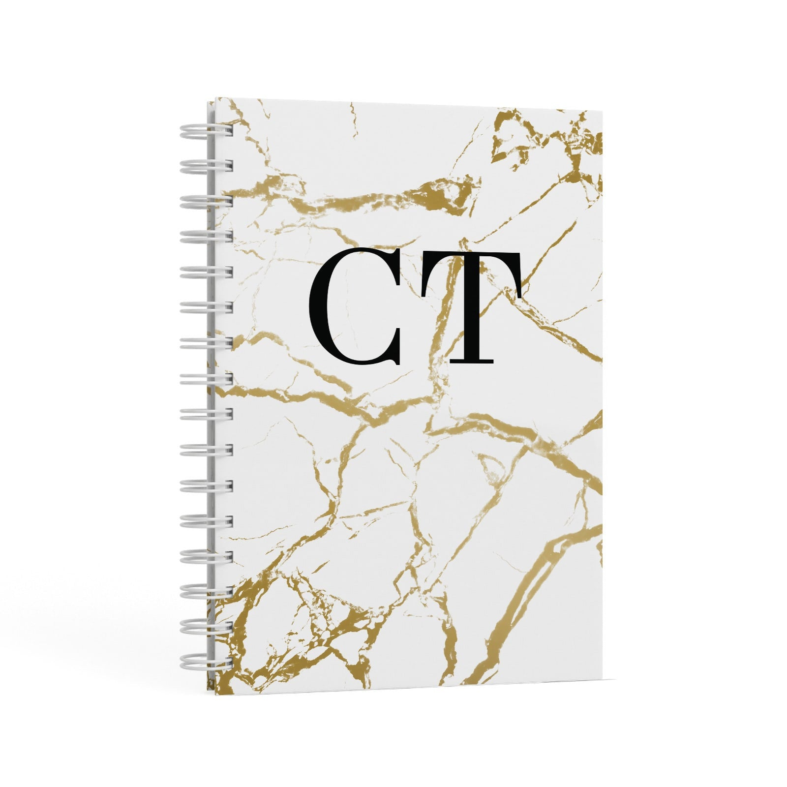 Personalised Gold White Marble Monogram A5 Hardcover Notebook Second Side View