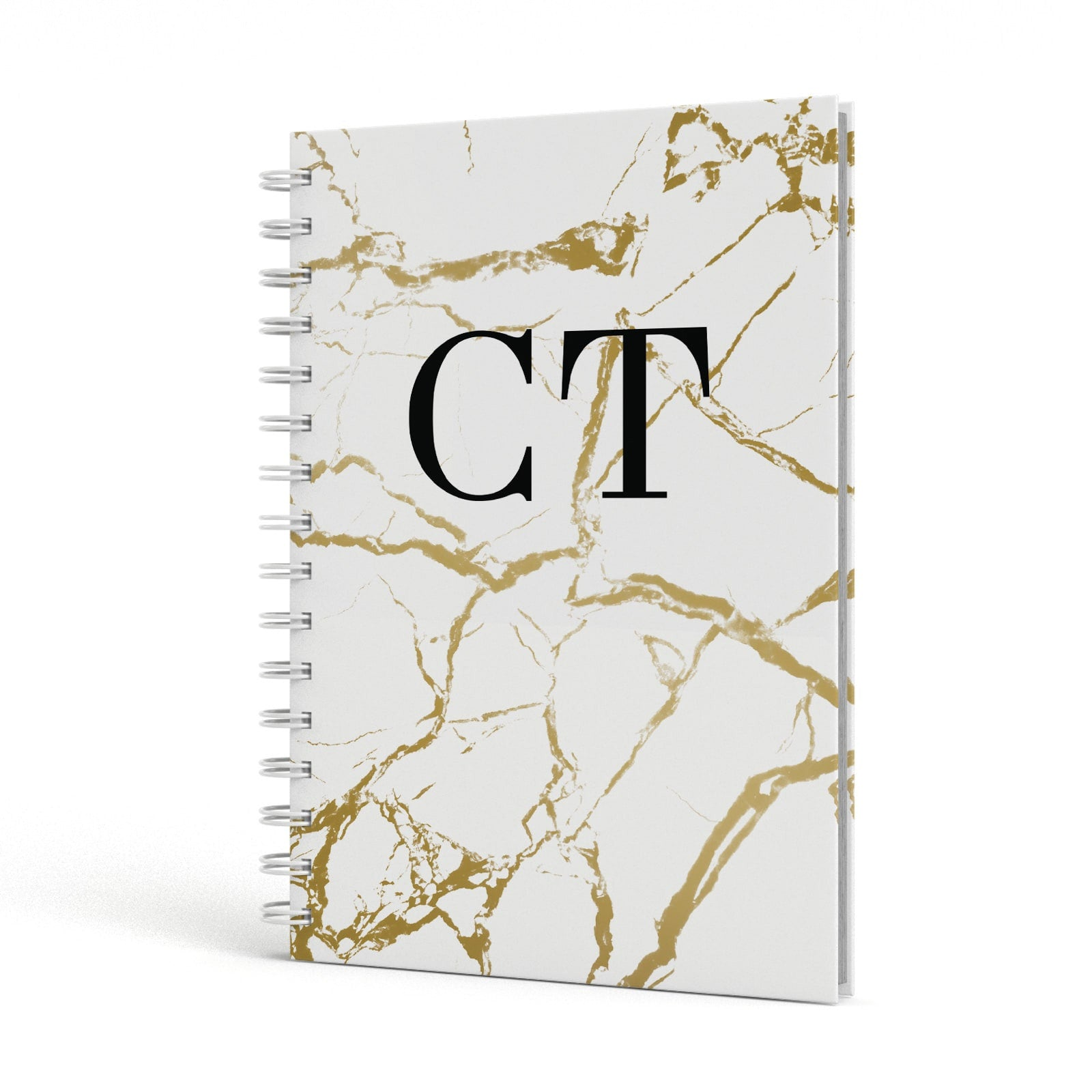Personalised Gold White Marble Monogram A5 Hardcover Notebook Side View