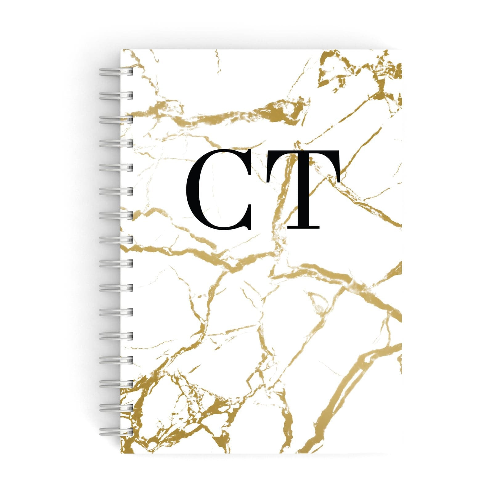 Personalised Gold White Marble Monogram A5 Hardcover Notebook