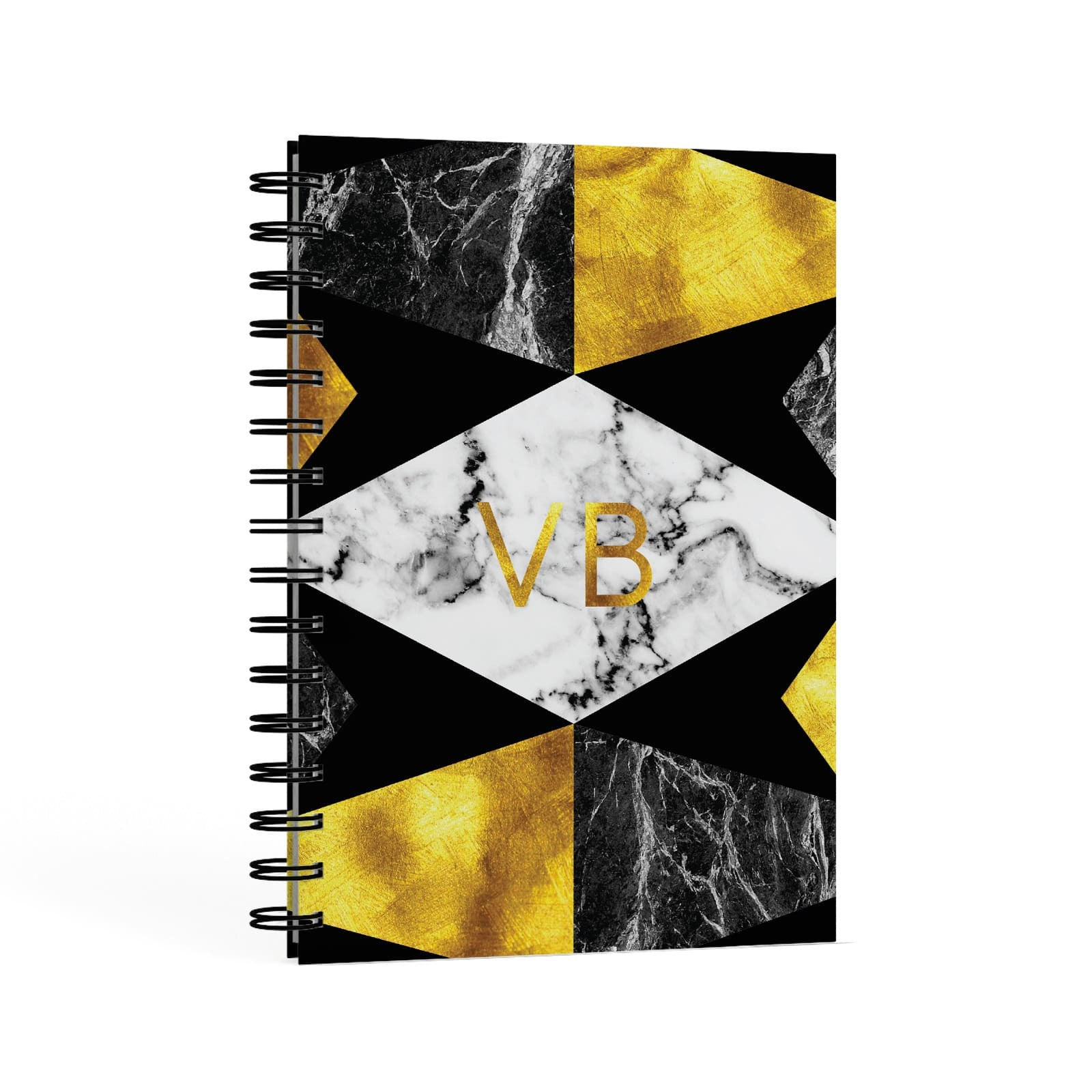 Personalised Golden Marble Initials A5 Hardcover Notebook Second Side View