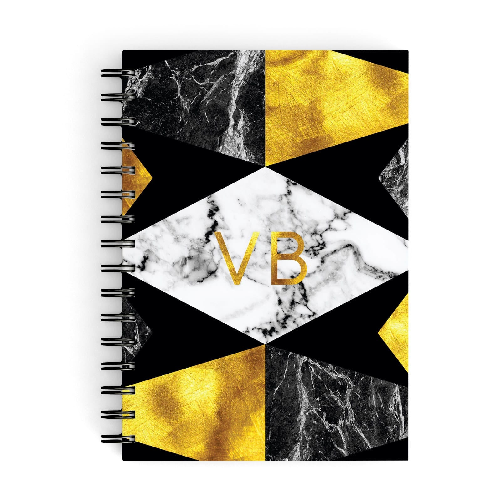 Personalised Golden Marble Initials A5 Hardcover Notebook