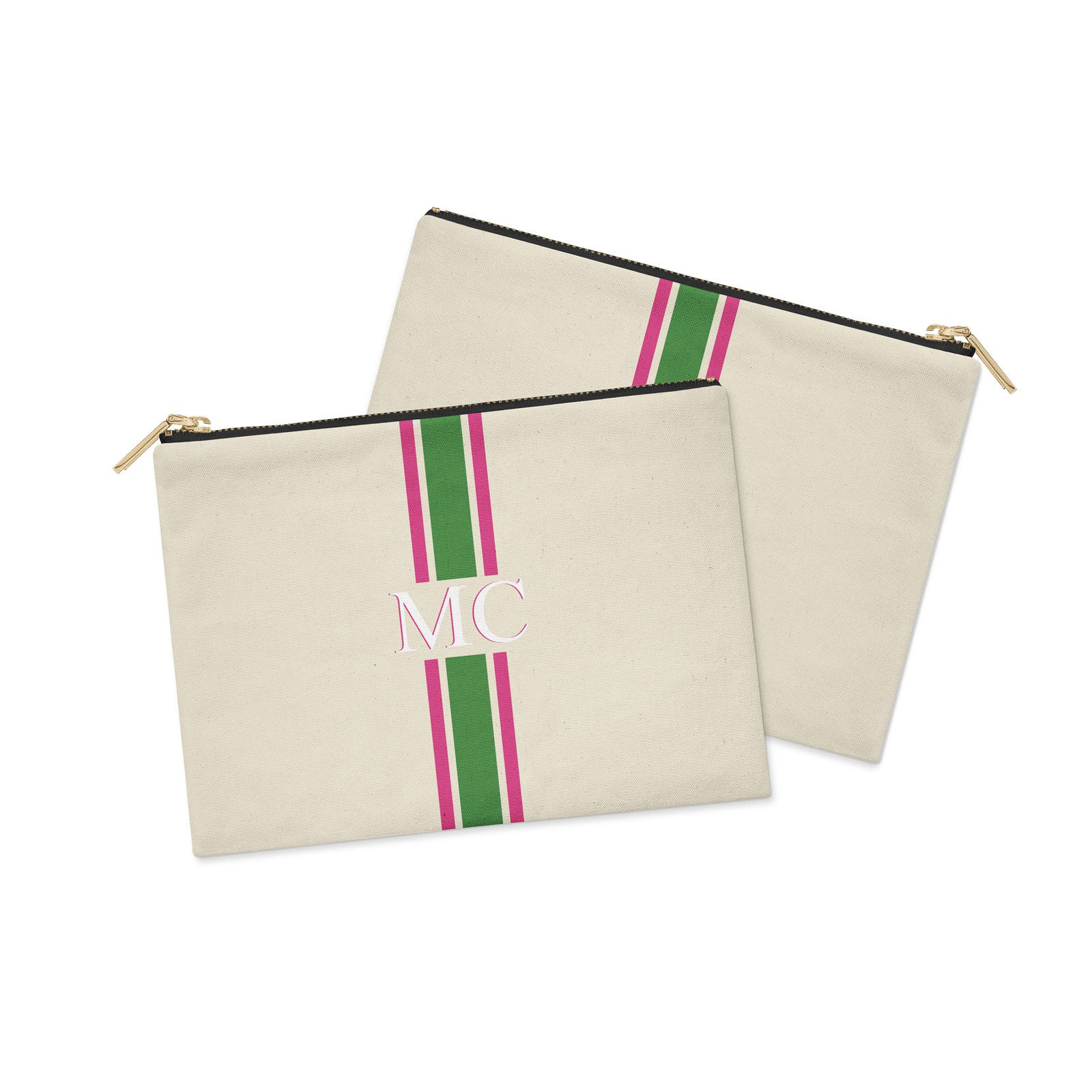 Monogram Striped Green and Pink Canvas Clutch