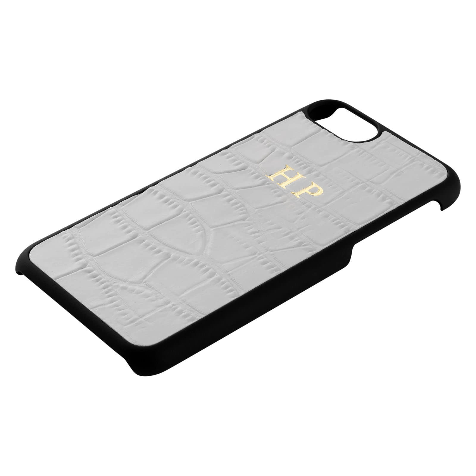 Personalised Grey Mock Croc Leather iPhone Case Side Angle