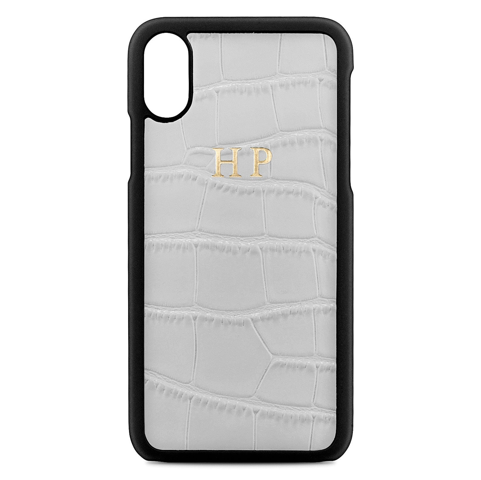 Personalised Grey Croc Leather iPhone X Case