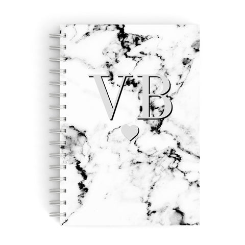 Personalised Grey Initialed Marble Heart A5 Hardcover Notebook