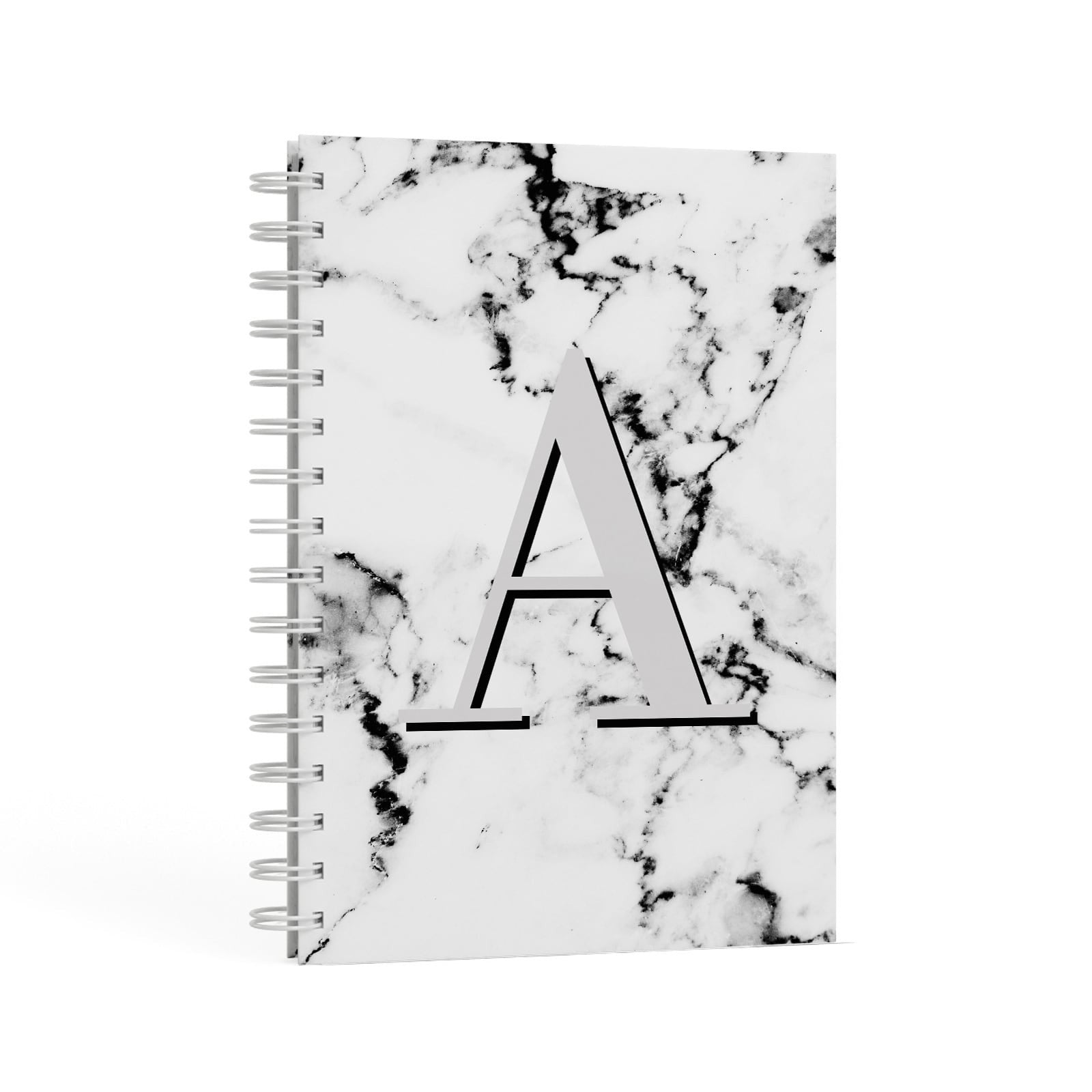 Personalised Grey Large Initial Marble A5 Hardcover Notebook Second Side View