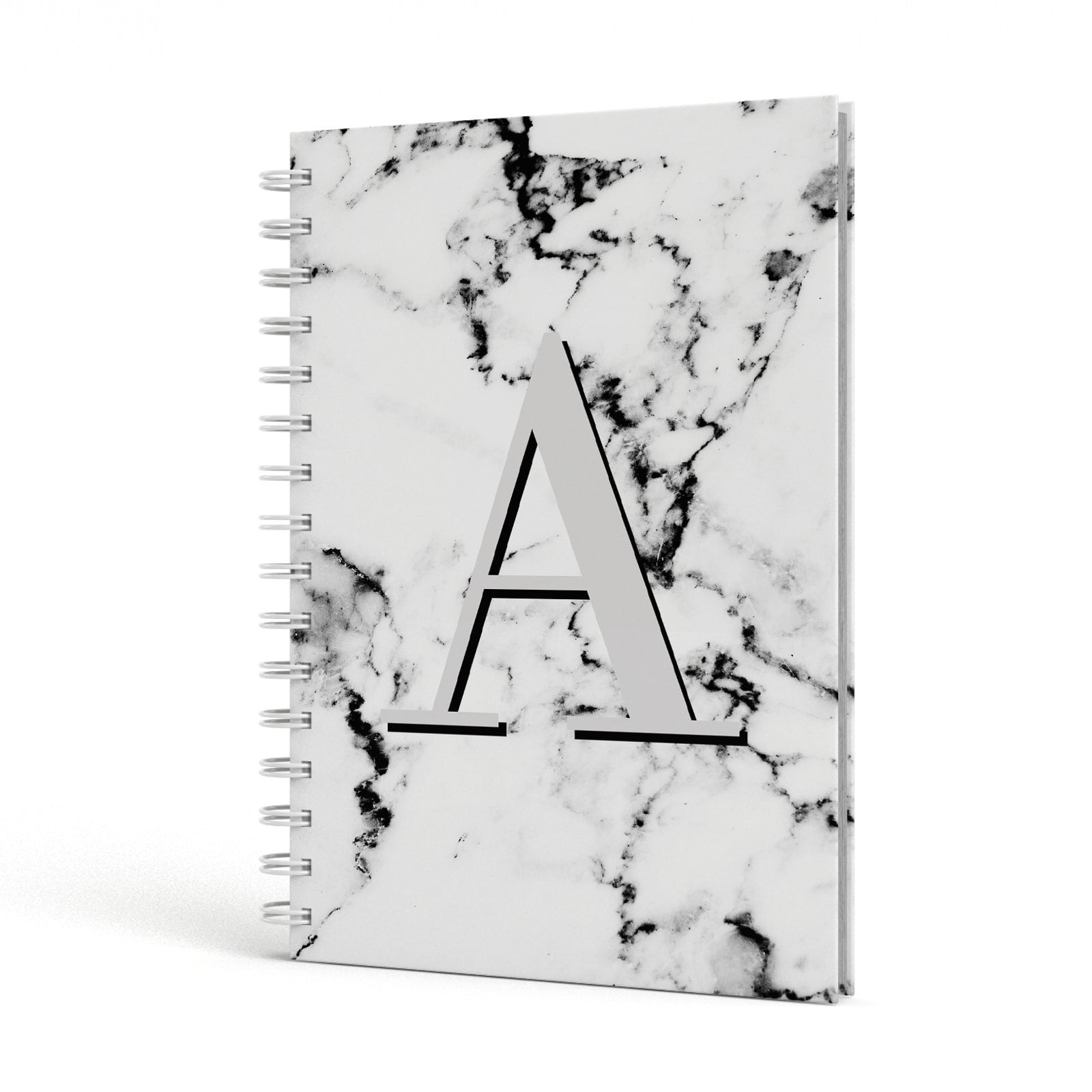 Personalised Grey Large Initial Marble A5 Hardcover Notebook Side View