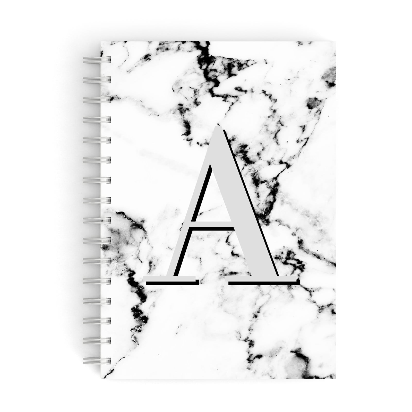 Personalised Grey Large Initial Marble A5 Hardcover Notebook