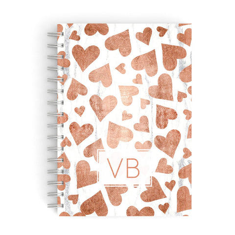Personalised Heart Initialled Marble A5 Hardcover Notebook