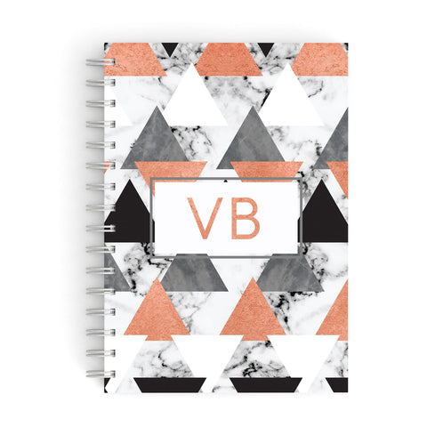 Personalised Initials Copper Marble A5 Hardcover Notebook