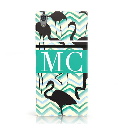 Personalised Initials Flamingos 2 Sony Xperia Case