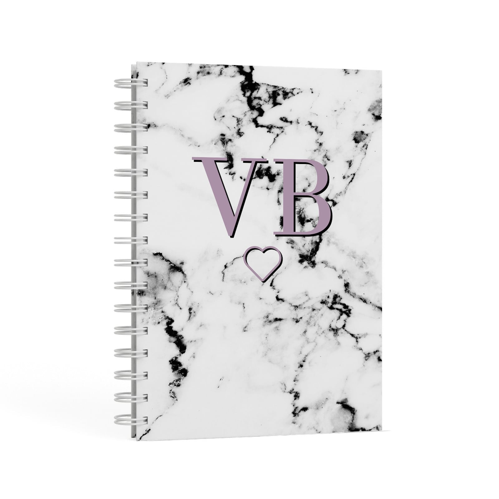 Personalised Initials Love Heart Marble A5 Hardcover Notebook Second Side View