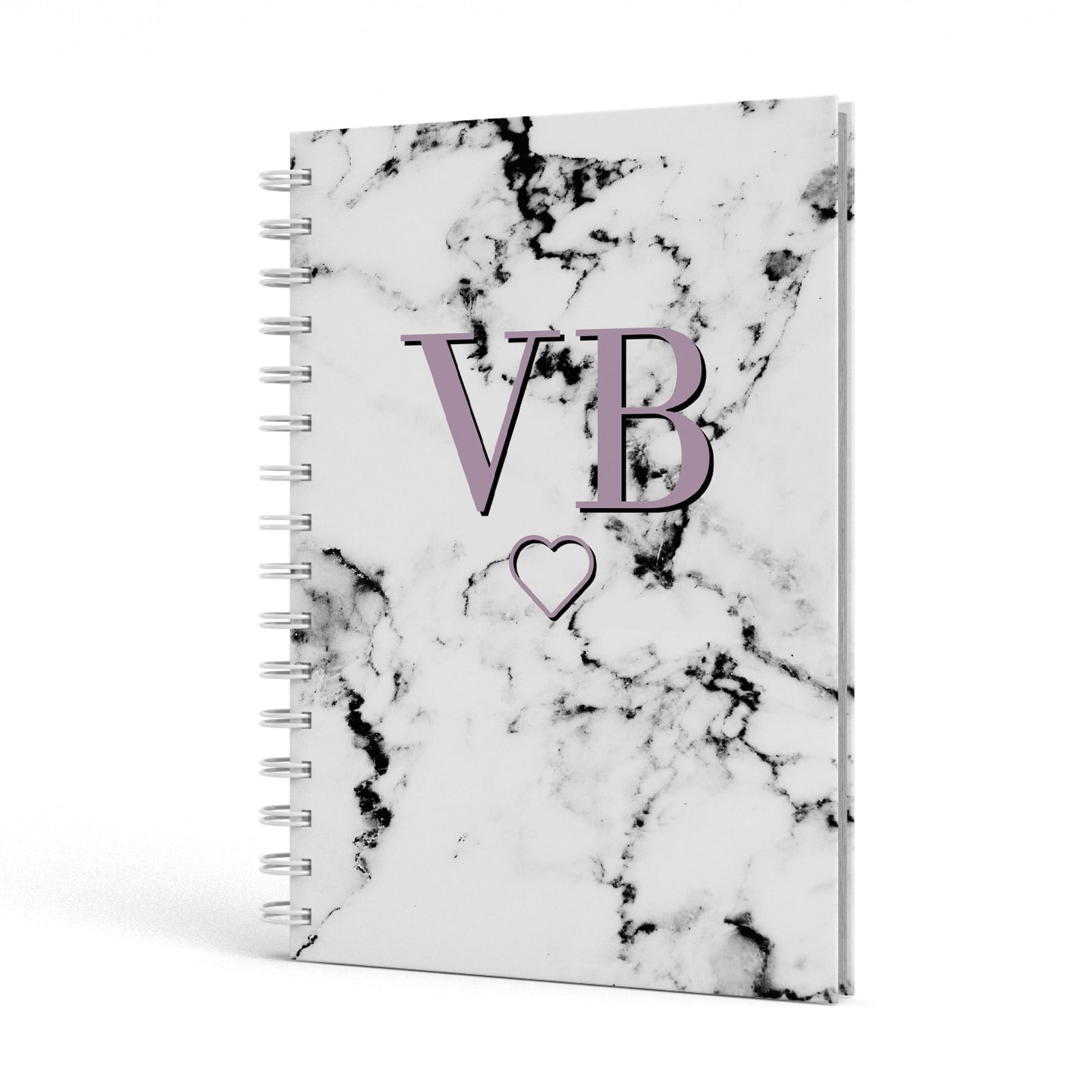 Personalised Initials Love Heart Marble A5 Hardcover Notebook Side View