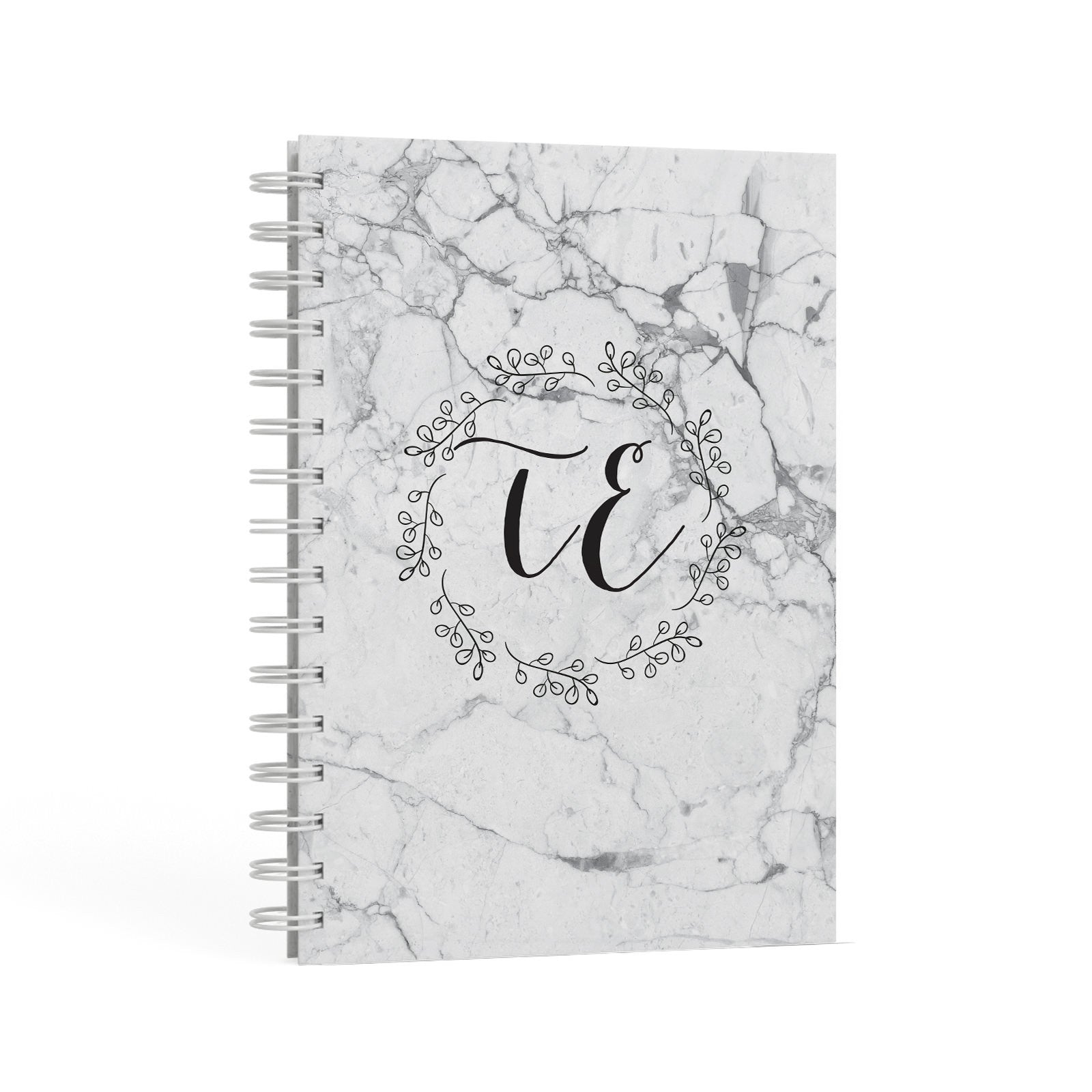 Personalised Initials Marble A5 Hardcover Notebook Second Side View