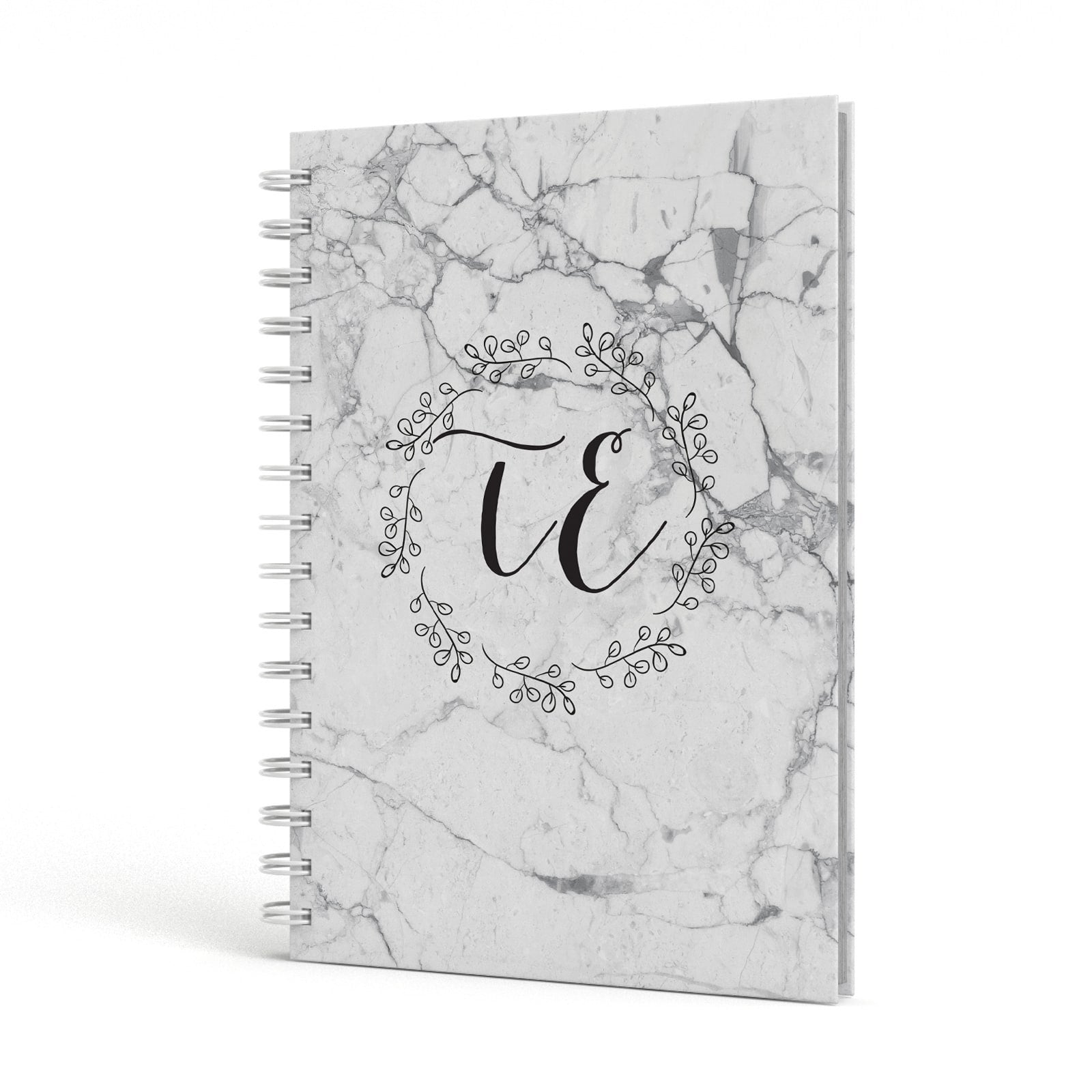 Personalised Initials Marble A5 Hardcover Notebook Side View