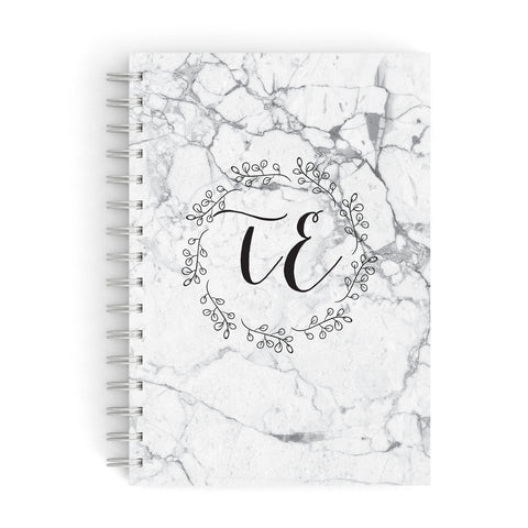 Personalised Initials Marble A5 Hardcover Notebook