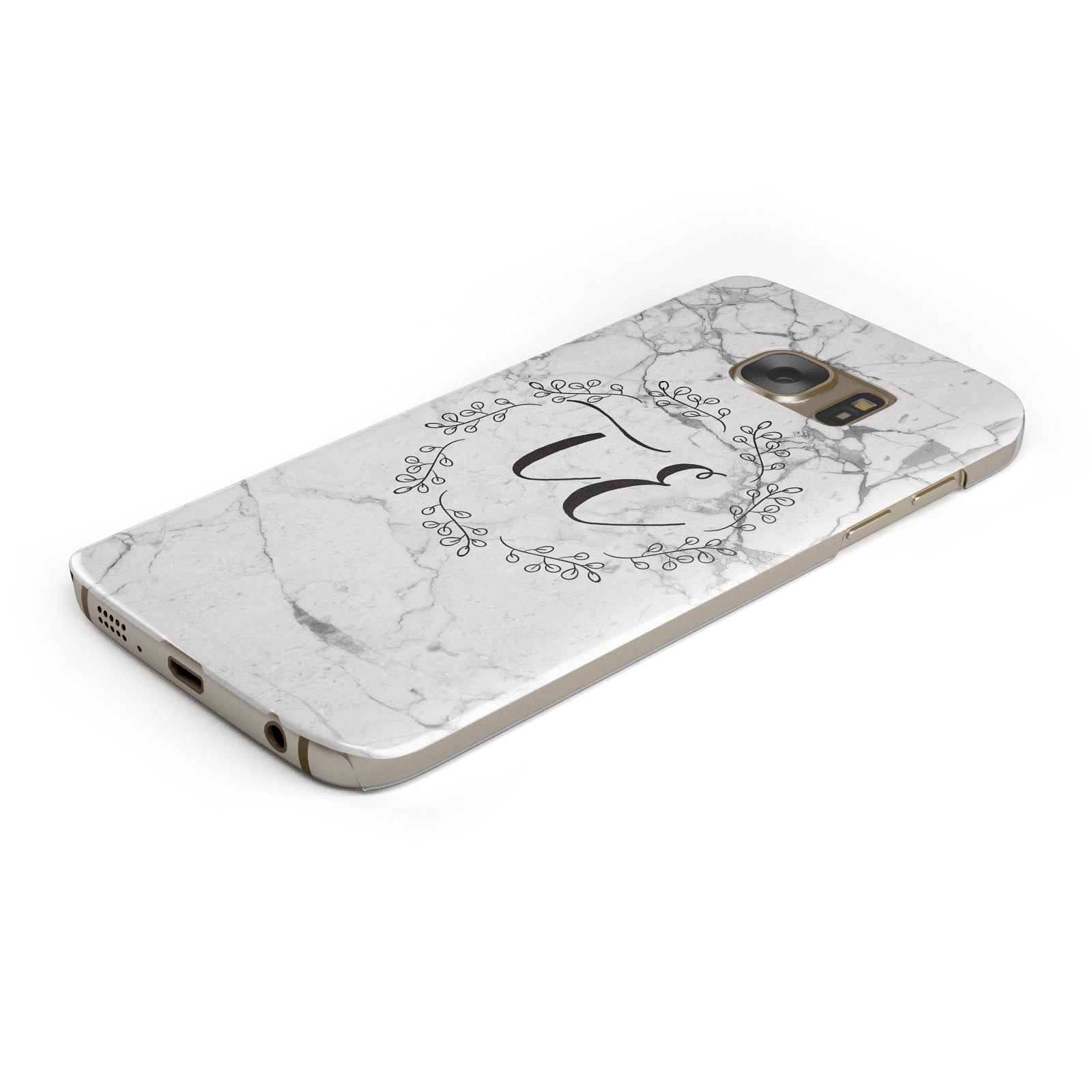 Personalised Initials Marble Samsung Galaxy Case Bottom Cutout