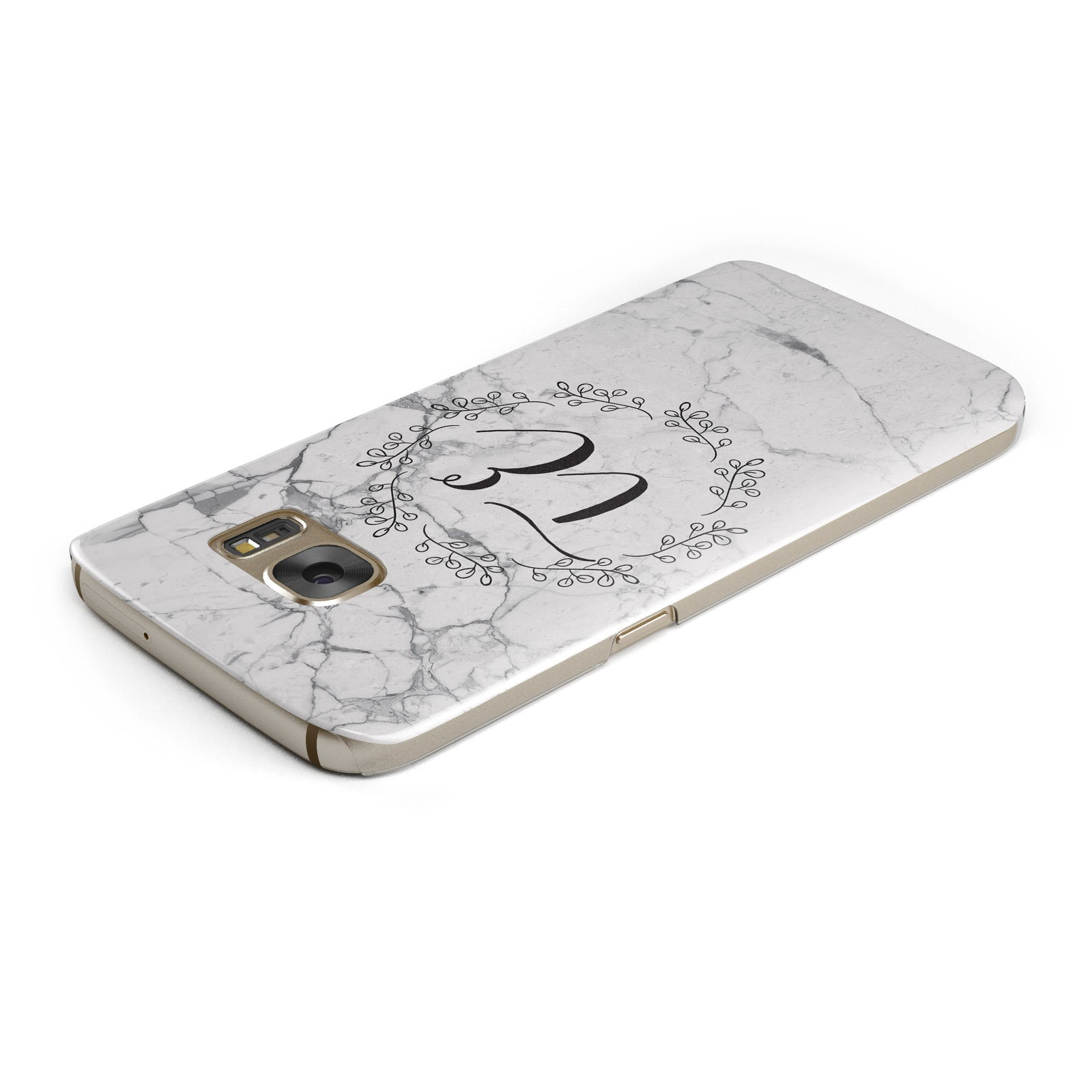 Personalised Initials Marble Samsung Galaxy Case Top Cutout