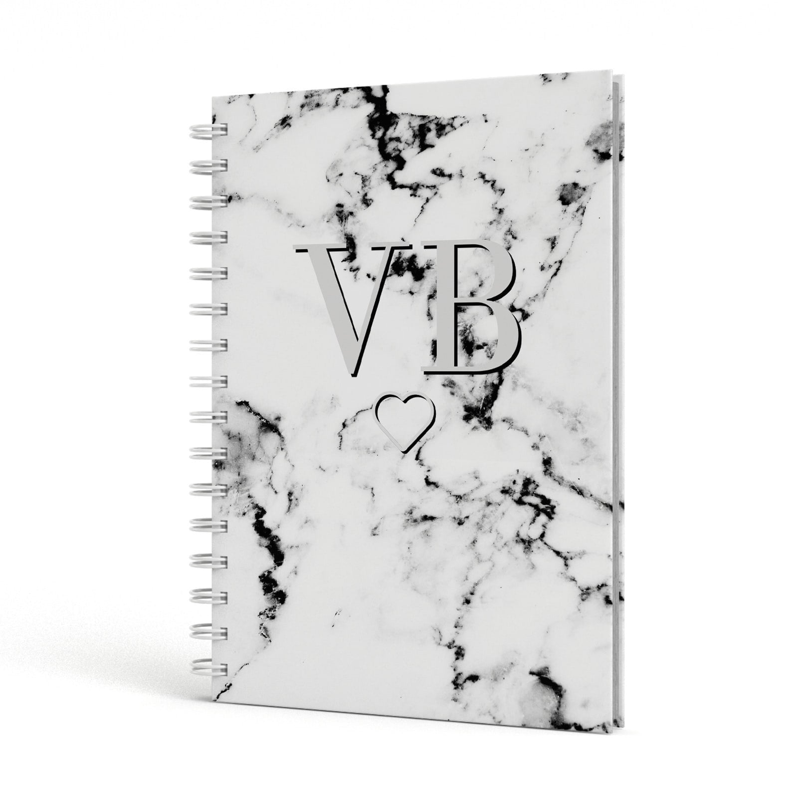 Personalised Initials Outline Heart Marble A5 Hardcover Notebook Side View