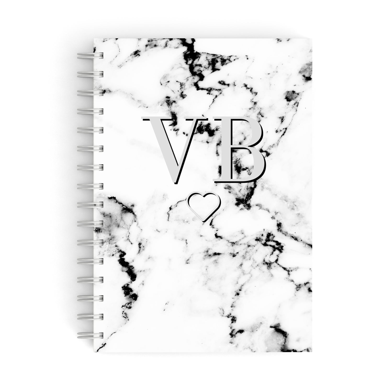 Personalised Initials Outline Heart Marble A5 Hardcover Notebook