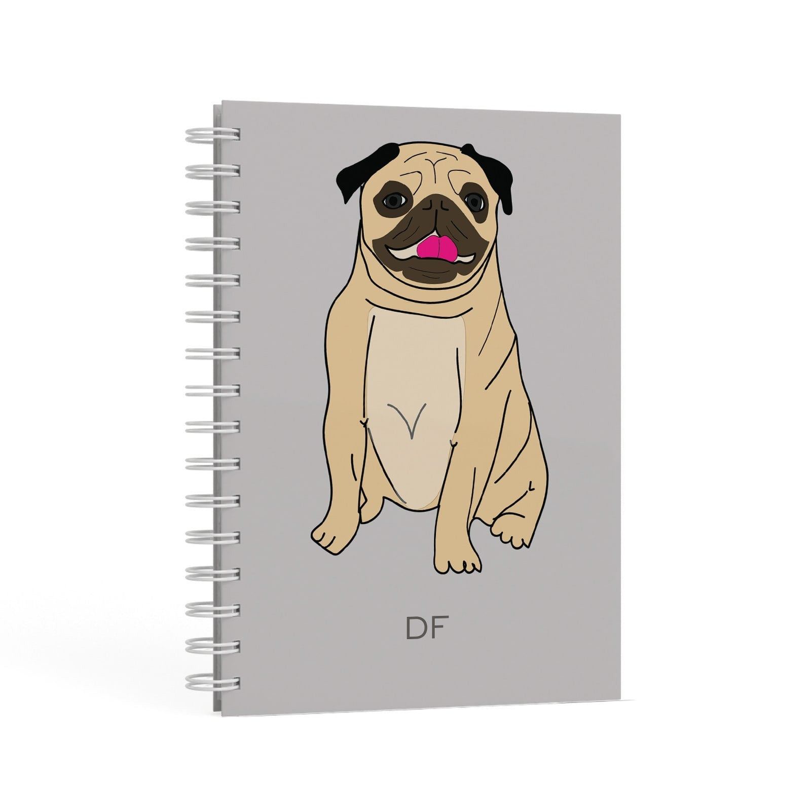Personalised Initials Pug A5 Hardcover Notebook Second Side View