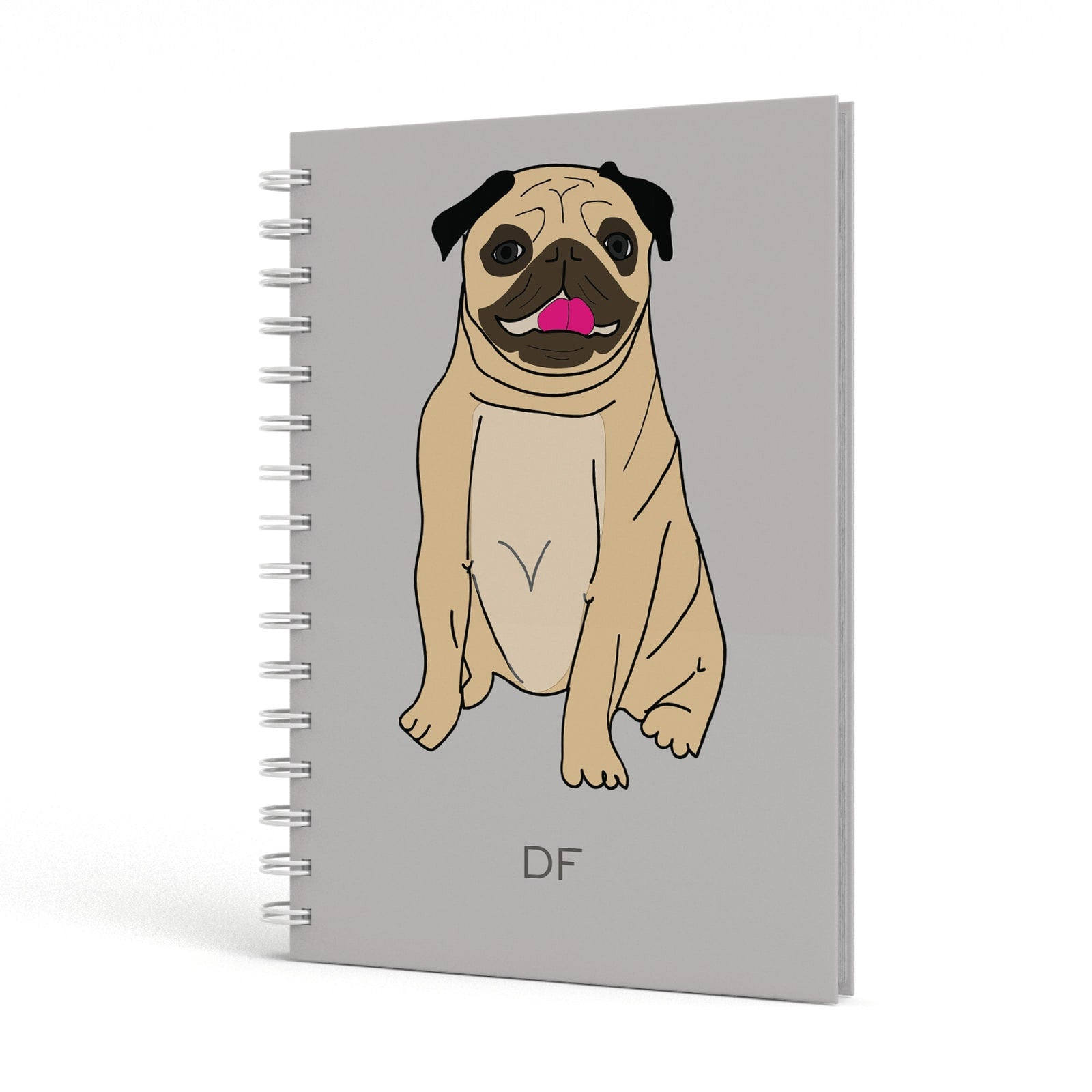 Personalised Initials Pug A5 Hardcover Notebook Side View