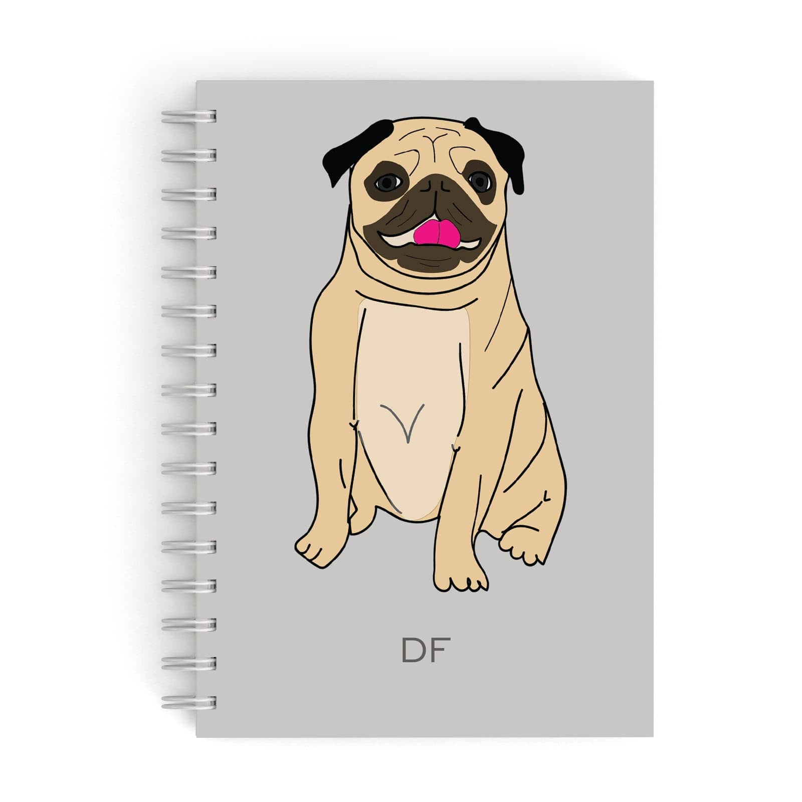 Personalised Initials Pug A5 Hardcover Notebook