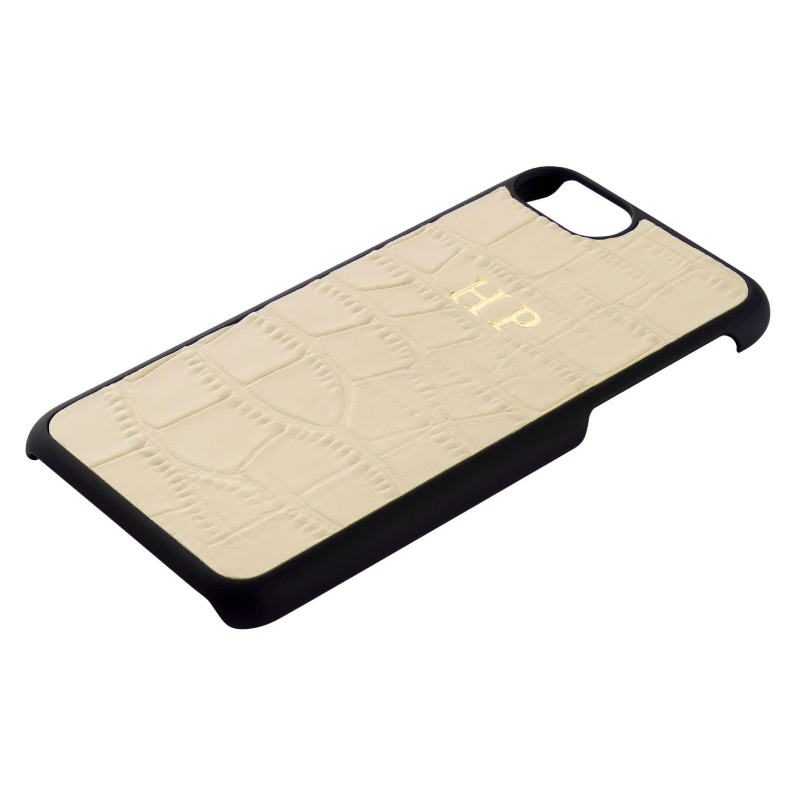 Personalised Ivory Mock Croc Leather iPhone Case Side Angle