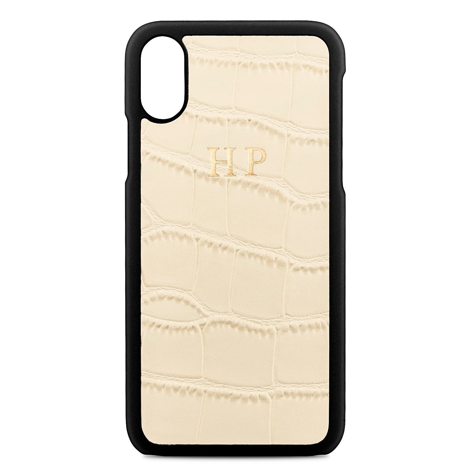 Personalised Ivory Croc Leather iPhone X Case