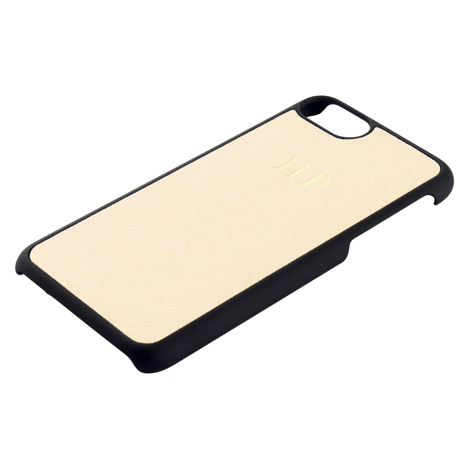 Personalised Ivory Saffiano Leather iPhone Case Side Angle