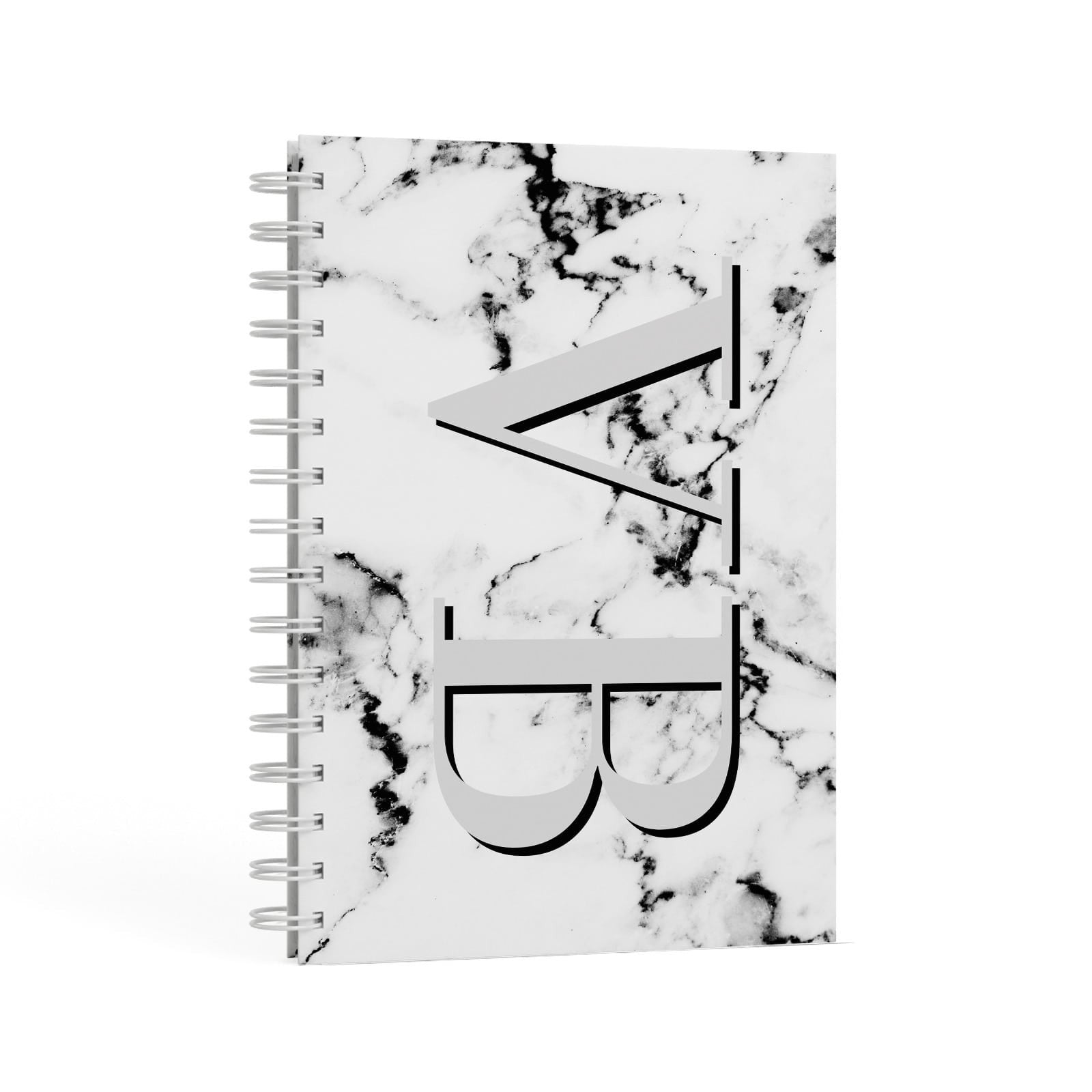 Personalised Landscape Initials With Marble A5 Hardcover Notebook Second Side View
