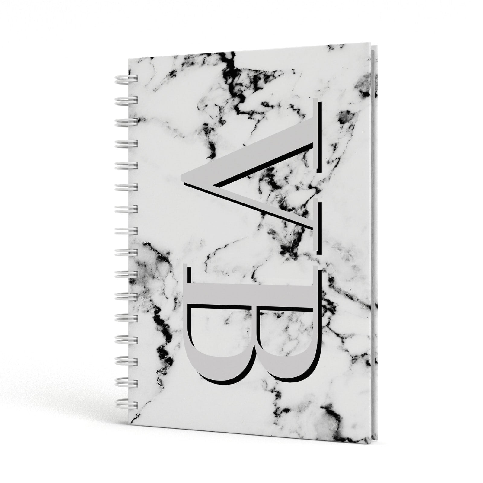 Personalised Landscape Initials With Marble A5 Hardcover Notebook Side View