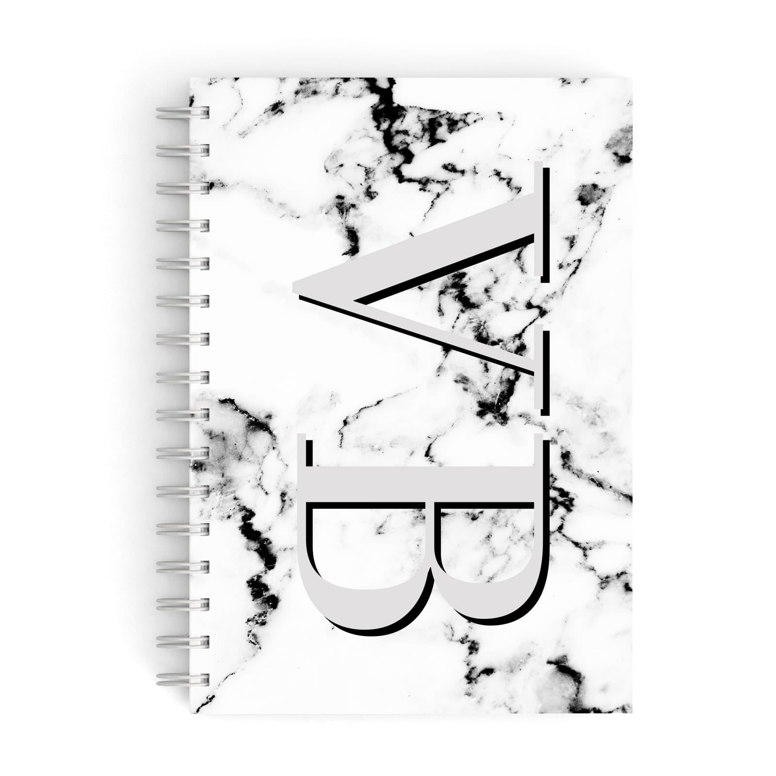 Personalised Landscape Initials With Marble A5 Hardcover Notebook
