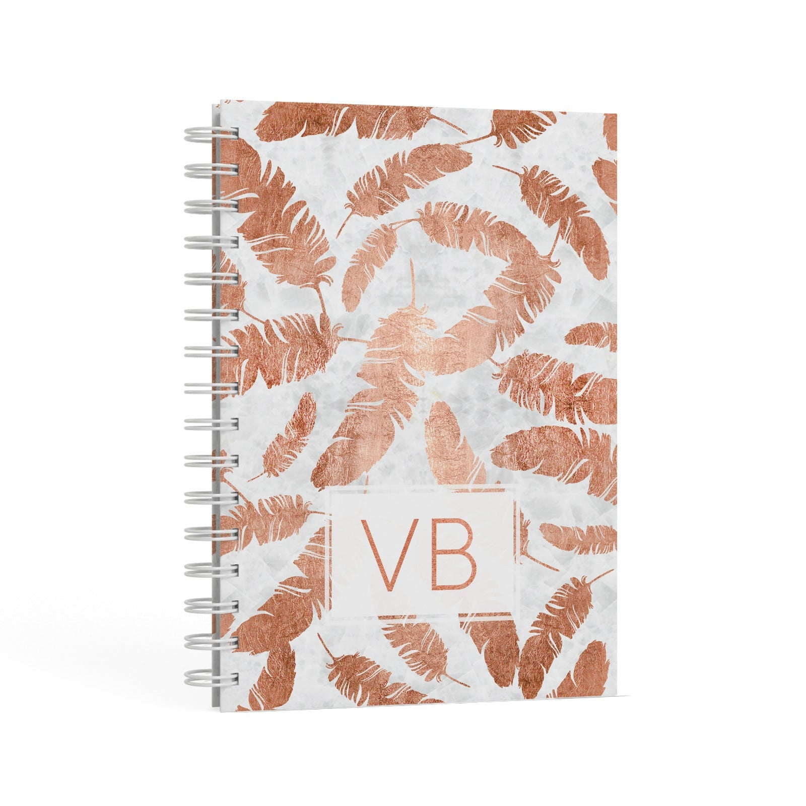 Personalised Leaf Marble Initials A5 Hardcover Notebook Second Side View