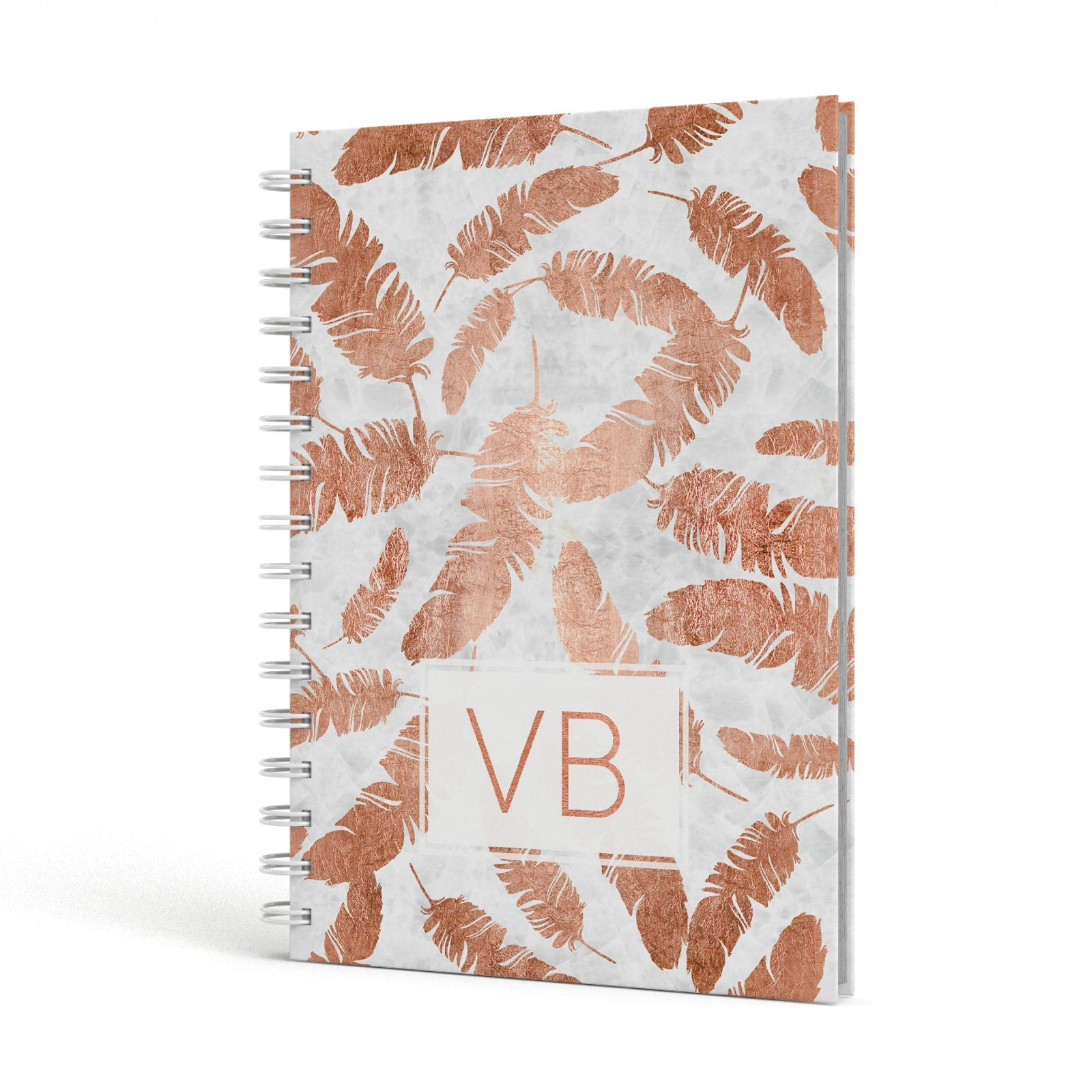Personalised Leaf Marble Initials A5 Hardcover Notebook Side View