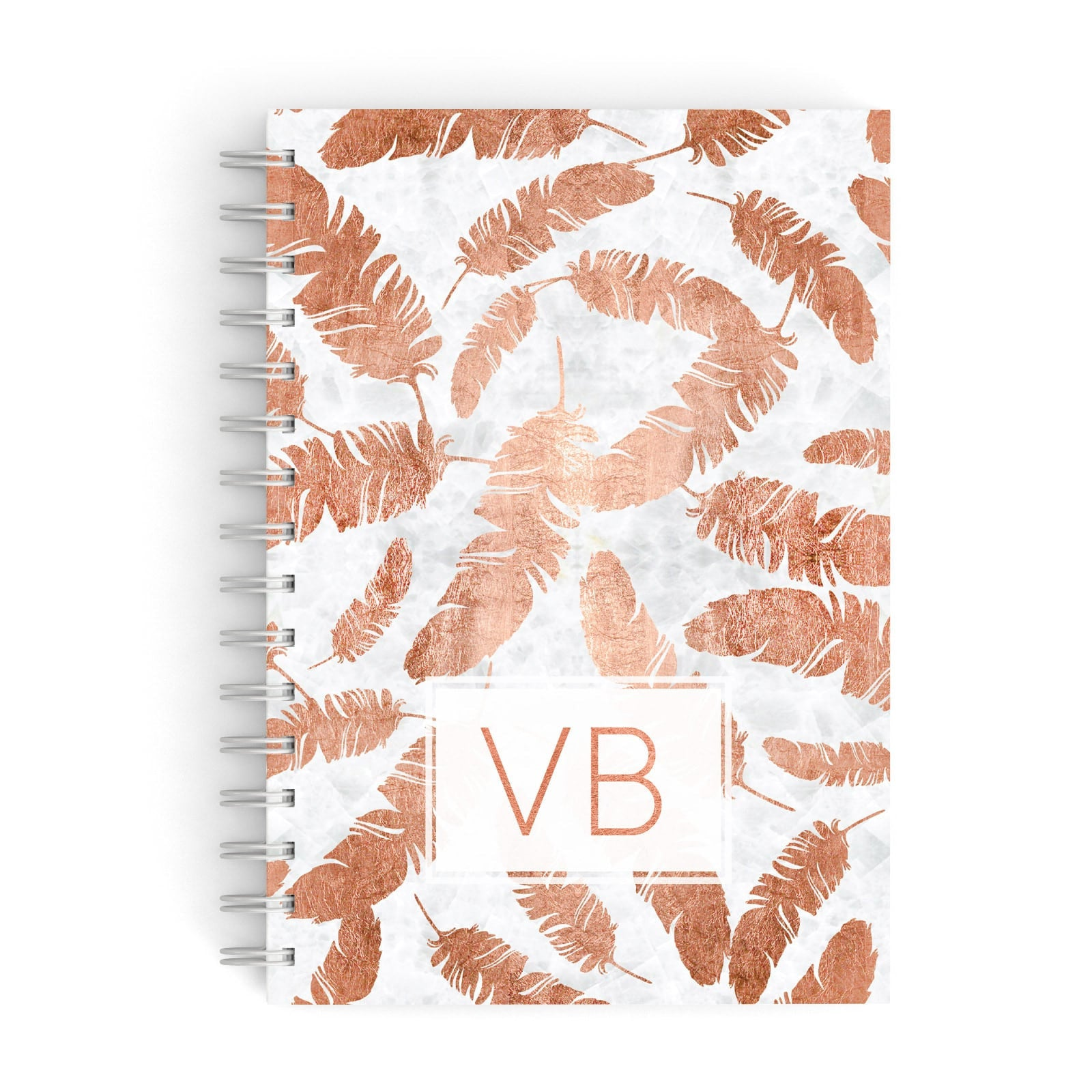 Personalised Leaf Marble Initials A5 Hardcover Notebook