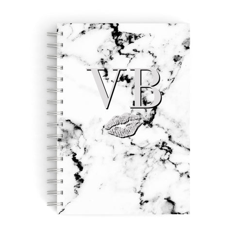 Personalised Lips Kiss Marble Initialed A5 Hardcover Notebook