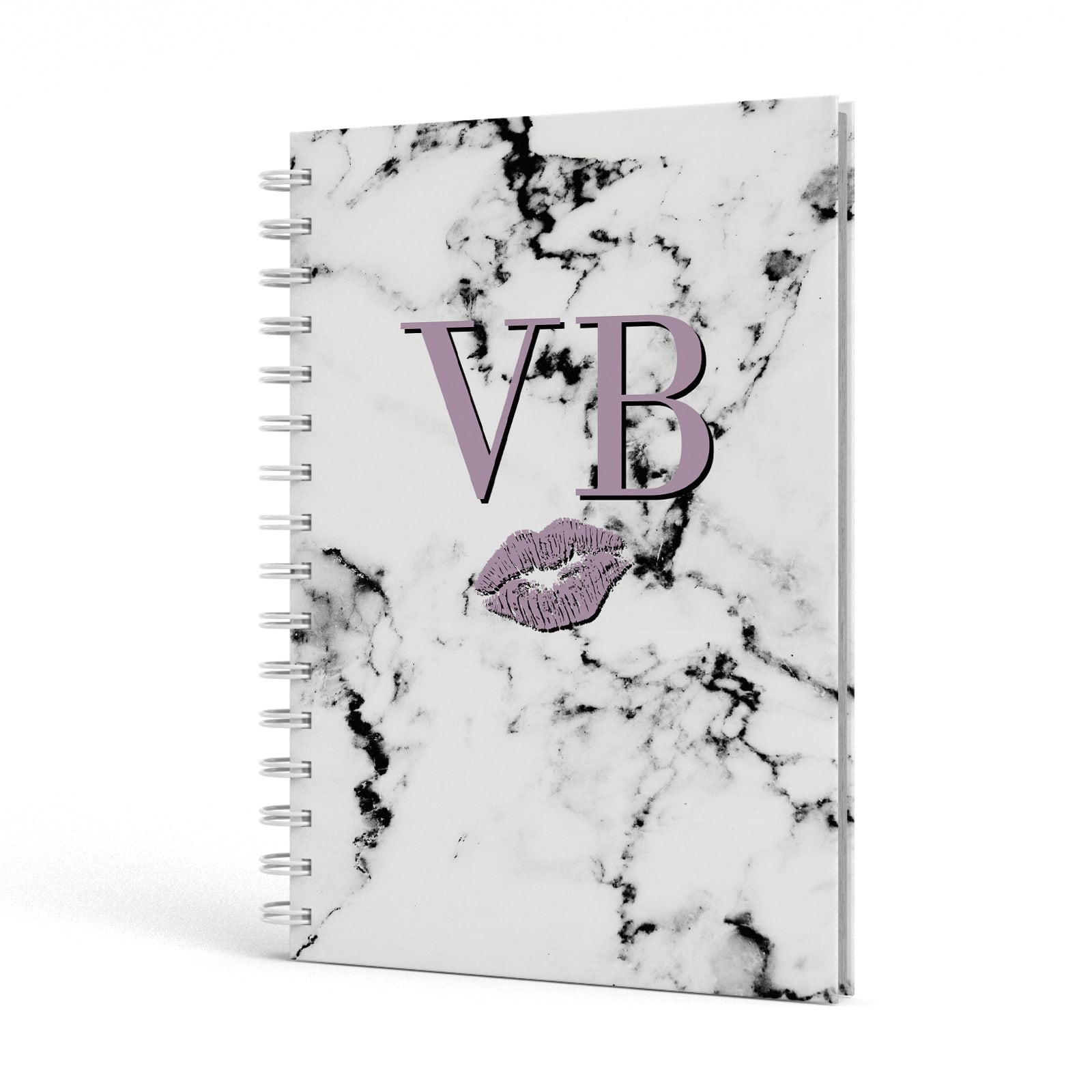 Personalised Lipstick Kiss Initials Marble A5 Hardcover Notebook Side View